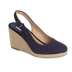 "Dune London 'Karley' Espadrille Slingback Wedge, 3 1/2"" heel ($99) ❤ liked on Polyvore featuring shoes, sandals, navy canvas, slingback sandals, wedge heel sandals, wedge espadrilles, navy blue high heel sandals and espadrille wedge sandal"
