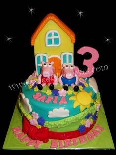 Peppa Pig Inspired Birthday Cake. All Edible