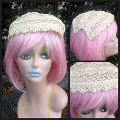 Vintage 1940's Cream Straw Half Hat with Rhinestone & Embroidery and Velvet Trim//Wedding, Bride, Rockabilly//Summer Hairpiece, Headpiece by VintageDoylestown on Etsy