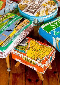 Use vintage travel tea towels to reupholster furniture