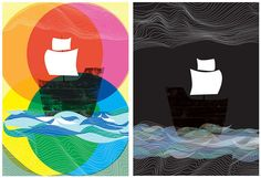 Ghost Ships Day and Night  2 art print set by strawberryluna, $35.00 >> I LOVE these!