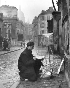 "Edward Clark, ""Painting Sacré-Coeur from the Ancient Rue Norvins in Montmartre, Paris, 1946"