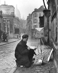"""Edward Clark, """"Painting Sacré-Coeur from the Ancient Rue Norvins in Montmartre, Paris, 1946"""