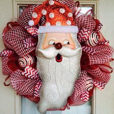 Santa Red and White Mesh Christmas Wreath on Etsy, $95.00