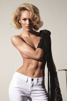 Candice Swanepoel pin-up hair style