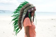Hand Made Indian Headdress, Native American Warbonnet Real Leather and Feathers