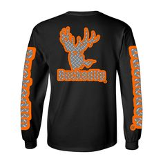 Long Sleeve Black with Orange and Diamond Plate Logo, small logo on front and large logo on back. BuckedUp® down each sleeve.