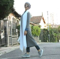 long tunic with matched scarf hijab