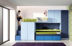 kids room,optimizado dormitorio juvenil con cama elevada,cama y mesa estudio extraíbles de muebles arasanz www.moblestatat.com horta barcelona