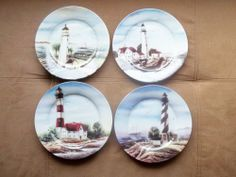 """Lighthouse Nautical Collector Plates Set of 4 8"""" Round Plates"""