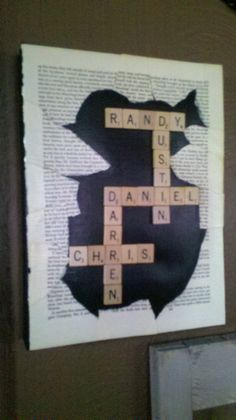 scrabble family name canvas with book pages Name Canvas, Diy Canvas, Scrabble Family Names, Craft Projects, Craft Ideas, Book Pages, Family Gifts, Diy Gifts, Artsy