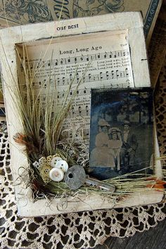 found object and ephemera shadow box assemblage.Blessed and Distressed: Altered Art Sheet Music Crafts, Sheet Music Art, Frame Crafts, Book Crafts, Paper Crafts, Altered Canvas, Altered Art, Altered Boxes, Mixed Media Canvas