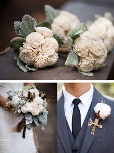 eco-friendly cotton bouquet and boutonniere