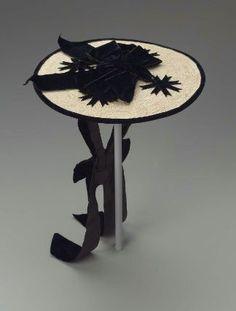 Round Straw Hat with Black Velvet Ribbon, Second Half of 19th Century.