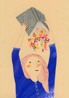Llueven letras de las páginas del libro. Cómo quedará la nueva narración sin ellas? (ilustración de Angela Marchetti)