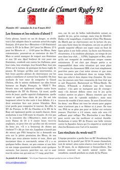 Gazette - 2014-2015 - Fédérale 2 - N° 161