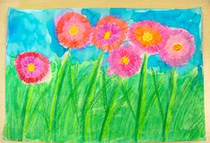 Spring flowers for grade 2. Crayon and liquid watercolor. We used foam sheets under our work to get smooth bright lines.