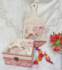 """Купить Набор шкатулка и досочка """"Нежность"""" - розовый, шкатулка, досочка, доска декоративная, досочка для кухни"""