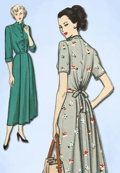 1940s Vintage Butterick Sewing Pattern 4667 Easy Misses Maternity Dress Size 32B