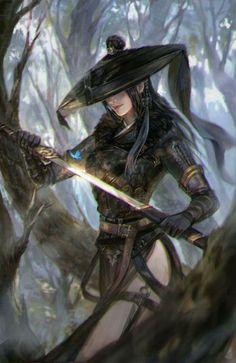 Samurai by Li zi on ArtStation Warrior Girl, Fantasy Warrior, Fantasy Samurai, Fantasy Women, Fantasy Girl, Fantasy Artwork, Character Portraits, Character Art, Samurai Tattoo