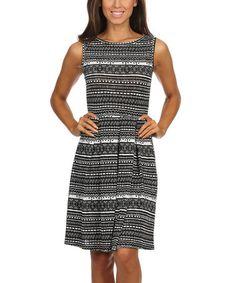 Black & White Geo Fit & Flare Dress