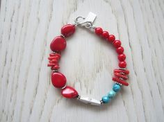 Red Coral Bracelet Turquoise Bracelet Stackable by MahsanAmoui
