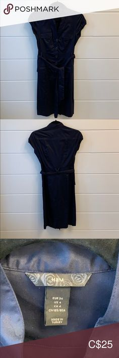 Navy blue button up dress H&M button up dress with waist tie. Size 4 Dresses Midi