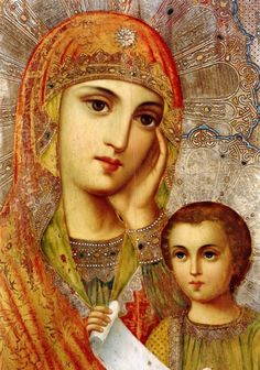 Russian Icon of the Madonna and Christ Child