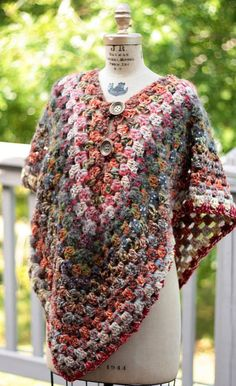 Poncho boho Granny Square poncho Autumn cape by ChocolateDogStudio, $200.00 ... Inspiration ... Love the yarn used: