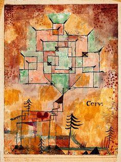 Paul Klee, Der Hirsch (Le Cerf), 1919. De motif, le cerf devient principe structurant, par un procédé de ramification qui propage la ramure de l'animal dans la moitié supérieure de l'oeuvre et qui crée des analogies formelles entre animal, végétal, voire minéral.