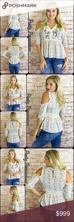 Coming SoonFloral Lace Peasant Cold Shoulder Top Coming Soon Pretty Persuasions Tops