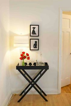 Simple Tray Table Entryway - for our extra folding tray tables, paint and decorate