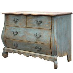 Furniture::Chests & Dressers::Vintage French Blue Curved Chest