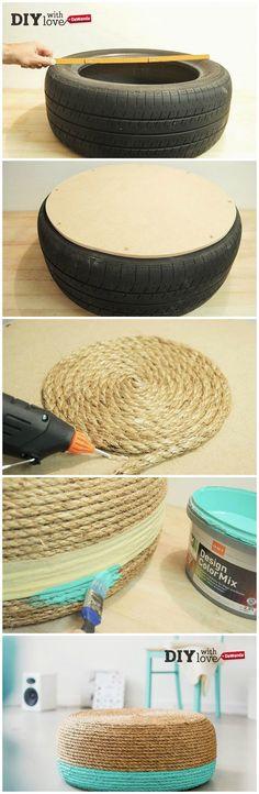 Come fare un #pouf per la tua casa usando un vecchio copertone: un #diy a tutto riciclo per te!