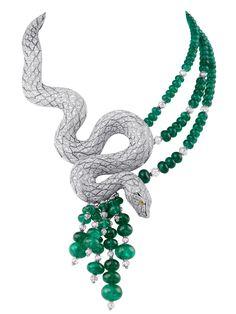 Cartier Snake-motif necklace. Platinum, yellow diamond eyes, emeralds, briolette-cut beads, diamonds. PHOTO: Vincent Wulveryck © Cartier 2011