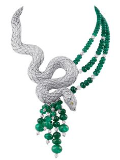 Cartier Snake-motif necklace. Platinum, yellow diamond eyes, emeralds, briolette-cut beads, diamonds.