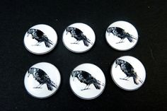 Crow  Buttons. Handmade by Me.  Black Bird or Raven. Handmade