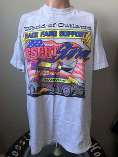 World Of Outlaws Desert Storm Support T-Shirt XL 90's