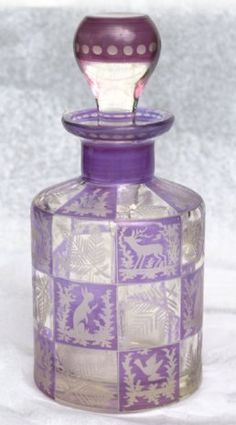 Art Deco Etched Glass Perfume Bottle with Forest Animal Motif,  Lavender to Clear,  1930's