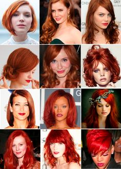 I wish I had a job that would allow me to have one of these hair colors!    inspiration board ~ post on red haired bridal beauty