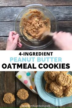These easy 4 ingredient peanut butter oatmeal cookies are quick, hearty, and filling and made with simple pantry ingredients you probably have on hand — no brown sugar or baking soda required! Oatmeal Cookies No Flour, Peanut Butter Oatmeal, Healthy Peanut Butter, Peanut Butter Recipes, Real Food Recipes, Snack Recipes, Cookies Ingredients, 4 Ingredients, Healthy Cookies