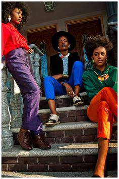 Black Girls Killing It. The green and orange, the red and blue, the hair. Yes!