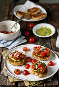 Lemon scallion white bean patties with asparagus pesto and fresh tomato salsa