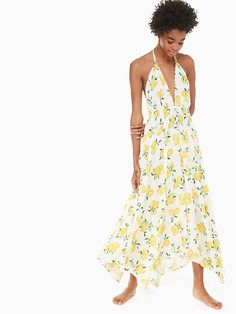 Kate Spade Halter Maxi Dress Cover-up, Fresh White - Size Honeymoon Outfits, Lemon Print, Halter Maxi Dresses, Plunging Neckline, Designing Women, Wrap Dress, Cover Up, My Style, How To Wear
