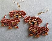 Dachshund Earrings in Delica seed beads