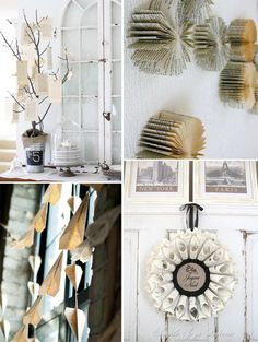 decorations made with book pages