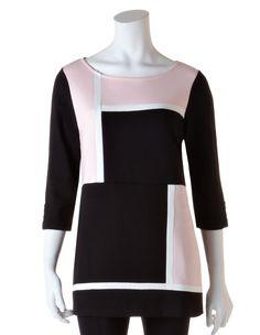 Blush Colour Block Tunic TopBlush Colour Block Tunic Top, Blush/Black/Ivory