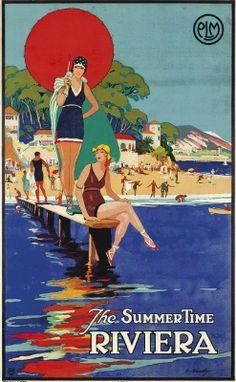 illustration : affiche de tourisme, Riviera, France, plage