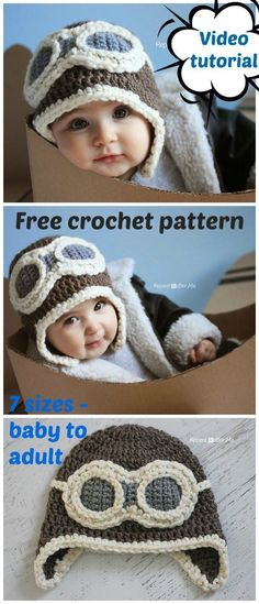 Free crochet pattern and video. Sizes baby to adult. Free aviator hat crochet pattern for kids and adults. Free crochet pattern and video. Sizes baby to adult. Free aviator hat crochet pattern for kids and adults. Crochet Hat Pattern Kids, Newborn Crochet Patterns, Crochet Kids Hats, Crochet For Boys, Beanie Pattern, Crochet Beanie, Baby Patterns, Free Crochet, Baby Hat Crochet