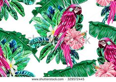Parrot, exotic birds, tropical flowers, palm leaves, tree, hibiscus, jungle, beautiful seamless vector floral pattern background